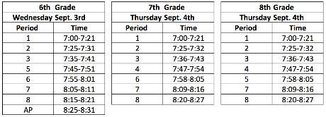Back To School Night Bell Schedules